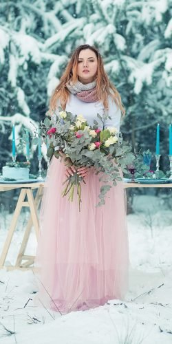 winter wedding dresses outfits a line pink tulle with coat alice kolesnikova