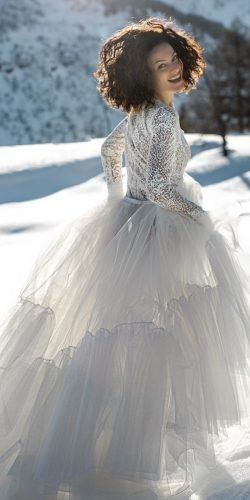 winter wedding dresses outfits ball gown with lace sleeves elisabettalillyred