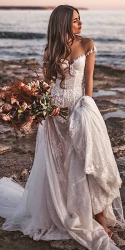 a line wedding dresses off the shoulder beach lace galia lahav