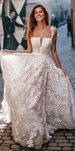 a line wedding dresses square neckline floral galia lahav