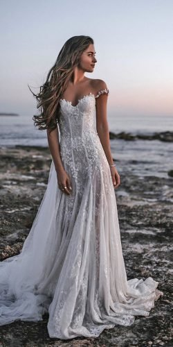 beach wedding dresses a line off the shoulder country tali photography