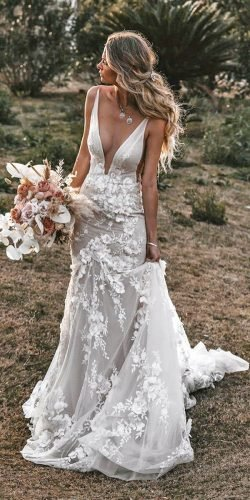beach wedding dresses sheath deep v neckline tali photography