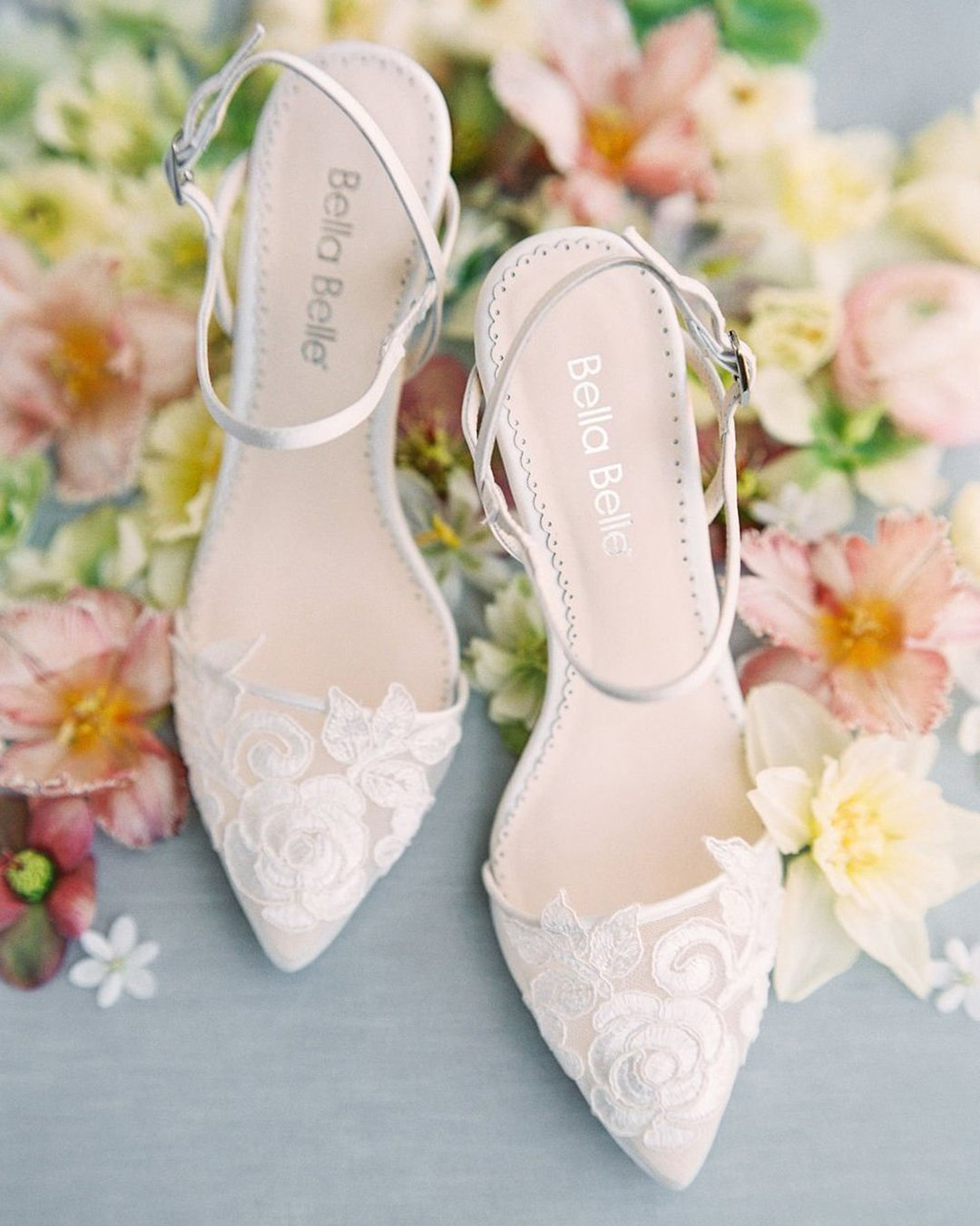 SERENA Ivory Flower Embroidered Lace Boho Low Heel