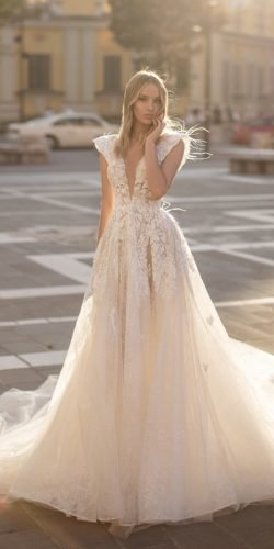 best wedding dresses a line deep v neckline wona