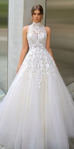 best wedding dresses a line halter neckline lace high neck enzoani