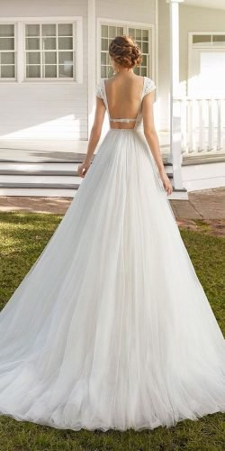 best wedding dresses a line low back with cap sleeves rosa clara