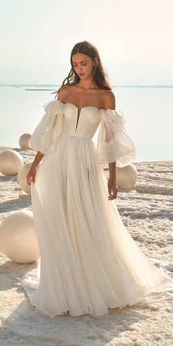 best wedding dresses a line simple with puff sleeves strapless lee grebenau