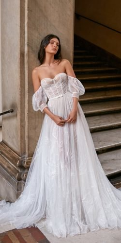 best wedding dresses a line strapless sweetheart neckline off the shoulder beach gali karten