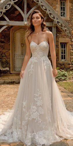 best wedding dresses a line sweetheart strapless neckline lace madi lane