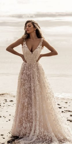best wedding dresses a line v neckline beach stephannie allin