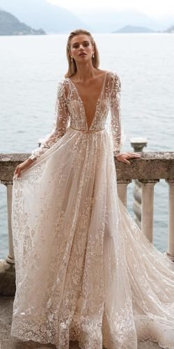 best wedding dresses a line with illusion sleeves deep v neckline julie vino