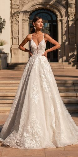 best wedding dresses a line with spaghetti straps lace moonlight