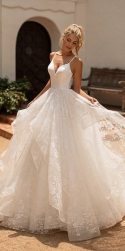 best wedding dresses a line with straps lace ruffled skirt moonlight