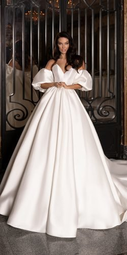 best wedding dresses ball gown simple with puff sleeves wona