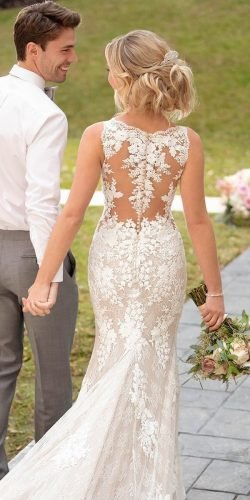 best wedding dresses fit and flare illusion back lace stella york