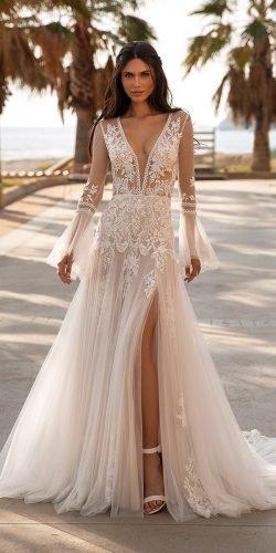 best wedding dresses sexy deep v neckline with long sleeves lace boho pronovias