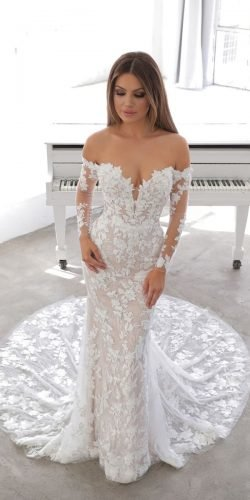 best wedding dresses sheath off the shoulder with sleeves floral enzoani