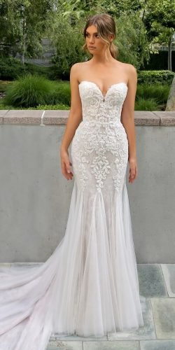 best wedding dresses sheath sweetheart neckline strapless lace enzoani