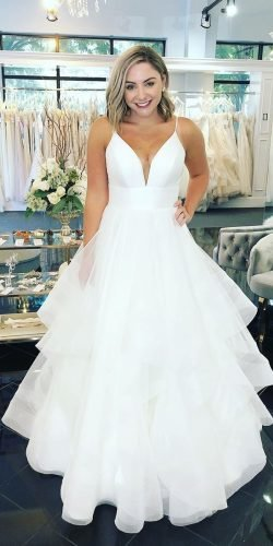 best wedding dresses simple ball gown with spaghetti straps stella york