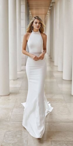 best wedding dresses simple halter neckline sheath beach rosa clara