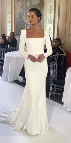 best wedding dresses simple with long sleeves square neckline suzanne neville