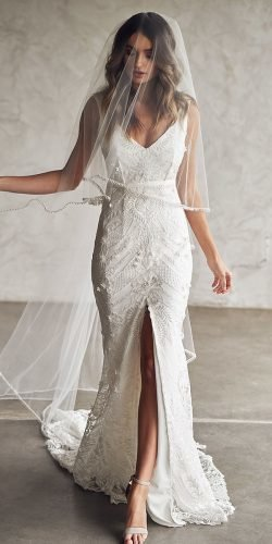 best wedding dresses trumpet lace with slit anna campbell