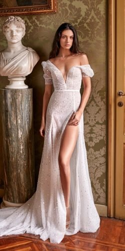 best wedding dresses v neckline with slit gali karten