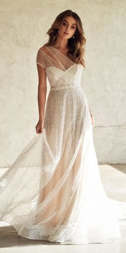 best wedding dresses a line sweetheart strapless neckline sequins anna campbell