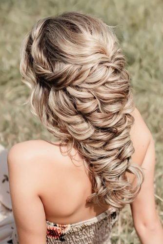 boho wedding hairstyles cascading messy braided hair down hairdobymijntje