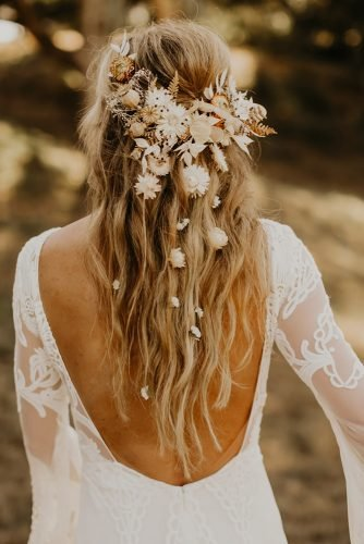 boho wedding hairstyles down with loose waves and original dry flower crown andrea posadas creative