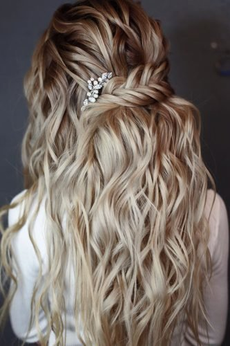 boho wedding hairstyles on long blonde hair soft waves and mermaide braid half up lenabogucharskaya