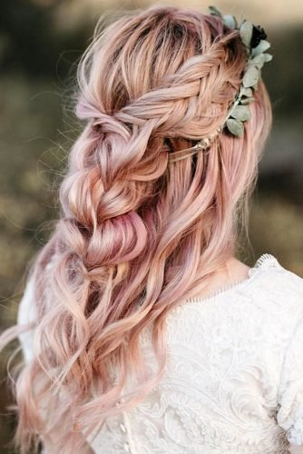boho wedding hairstyles on pink long half up braid with greenery dylnkayebeauty