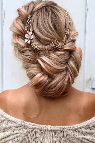 boho wedding hairstyles swept simple low updo with flower halo alexandralee1016