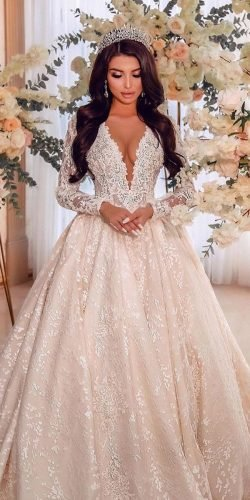 disney wedding dresses ball gown with long sleeves lace plunging neckline mina karan