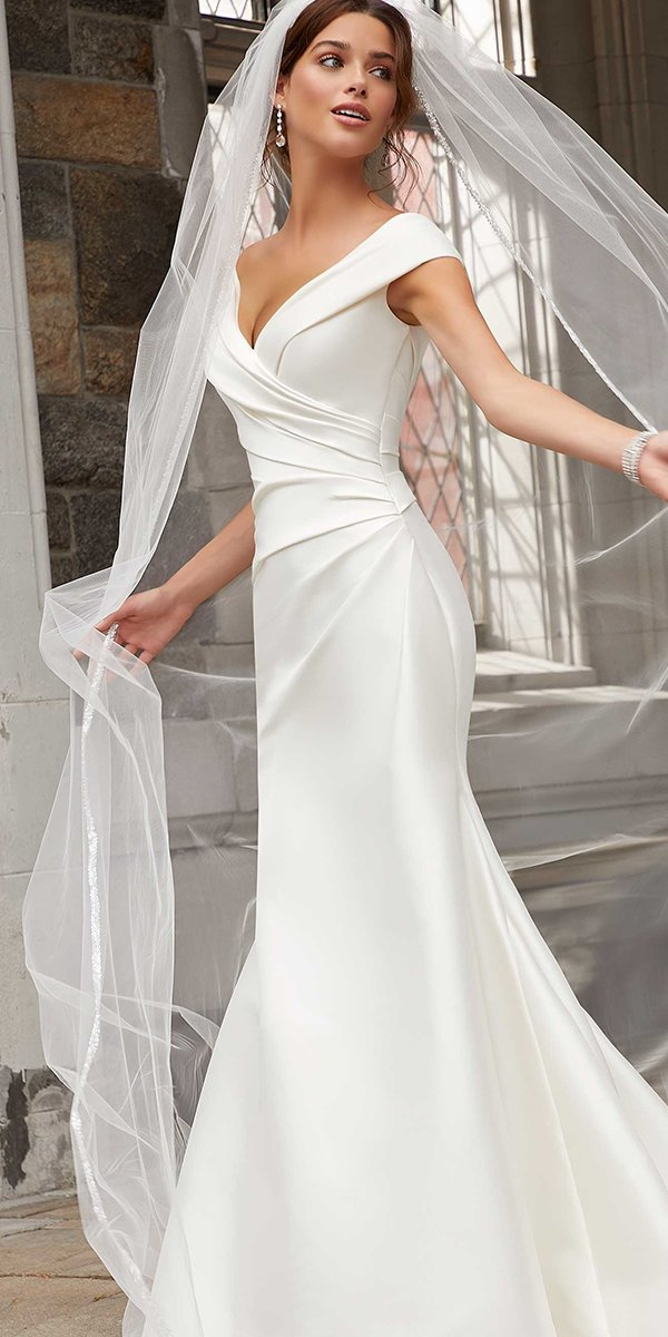 mermaid wedding dresses simple off the shoulder sweetheart neckline morilee