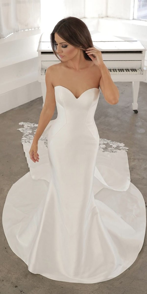 mermaid wedding dresses strapless sweetheart neckline with train enzoani