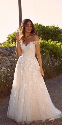 off the shoulder wedding dresses a line strapless neckline lace madilane