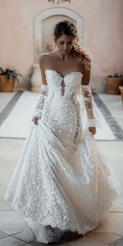 off the shoulder wedding dresses fit and flare sweetheart neckline with sleeves galia lahav