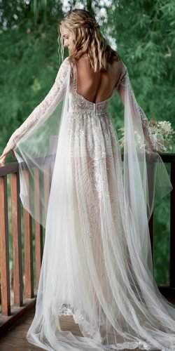 vintage inspired wedding dresses a line low back with long sleeves sequins vmudrov