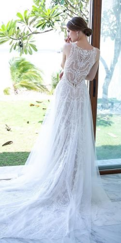 vintage inspired wedding dresses a line sleveless lace with train chantel lauren