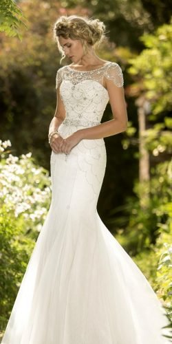vintage inspired wedding dresses fit and flare with cap sleeves country truebride
