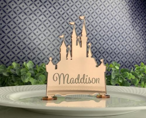 wedding place card ideas disney castle place card