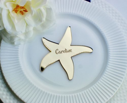 wedding place card ideas engraved starfish card
