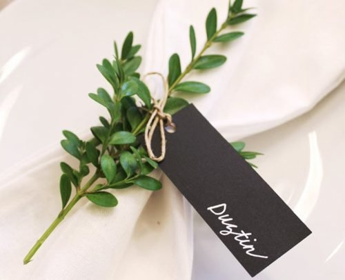 wedding place card ideas greenery tag