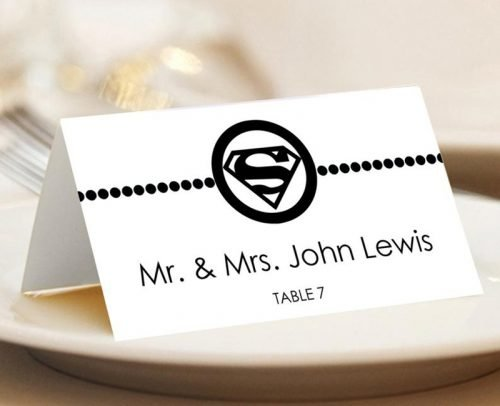 wedding place card ideas superhero escort card