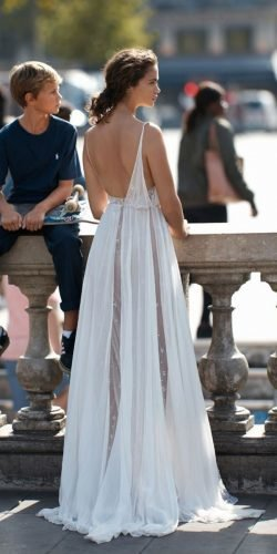 a line wedding dresses beach summer backless liz martinez