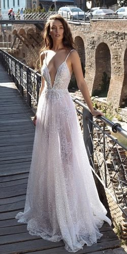 a line wedding dresses with spaghetti straps beach lace dimitrius dalia