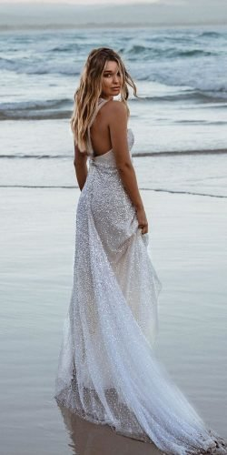 beach wedding dresses a line sequins backless annacampbell