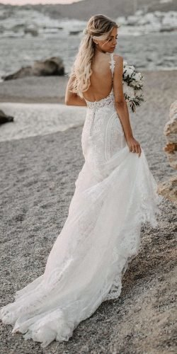 beach wedding dresses open back lace with train martina liana