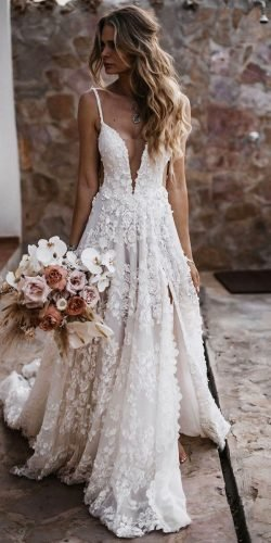 best wedding dresses a line with spaghetti straps boho beach galialahav